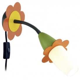 Viki 2 Single Light LED Wall Fitting With Orange Green And Yellow Flower Decoration