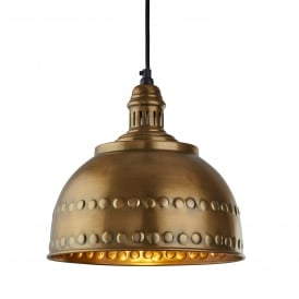 Vintage Single Light Ceiling Pendant In Antique Brass Finish With Studded Design
