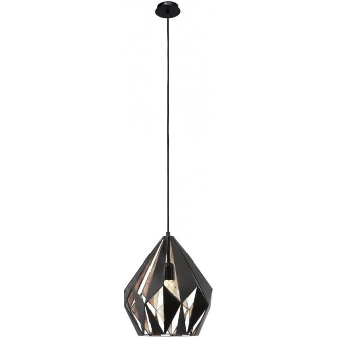 Eglo Vintage Vintage Single Light Ceiling Pendant In Black And Copper Finish