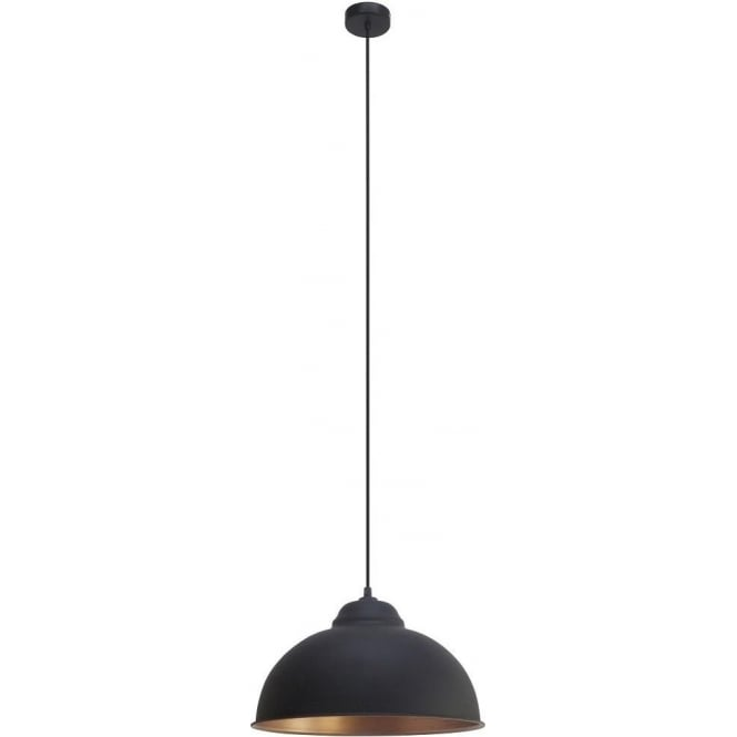 Eglo Vintage Vintage Single Light Ceiling Pendant In Black Finish With Copper Inner