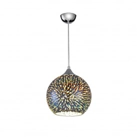 Vision Single Light Medium Round 3D Effect Ceiling Pendant With Polished Chrome Finish