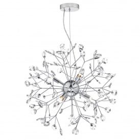 Vivien 6 Light Ceiling Pendant In Polished Chrome And Clear Crystal Finish
