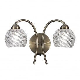 Vortex 2 Light Switched Wall Fitting In Bronze Finish With Clear Glass Shades