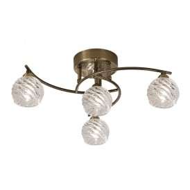 Vortex 4 Light Semi Flush Ceiling Fitting In Bronze Finish With Clear Glass Shades
