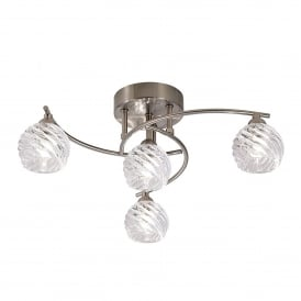 Vortex 4 Light Semi Flush Ceiling Fitting In Satin Nickel Finish With Clear Glass Shades