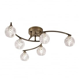 Vortex 6 Light Semi Flush Ceiling Fitting In Bronze Finish With Clear Glass Shades
