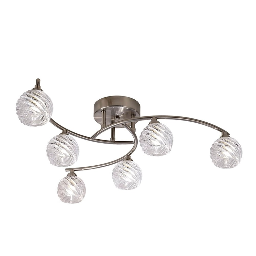Franklite Vortex 6 Light Semi Flush Ceiling Fitting In Satin Nickel Finish Wi