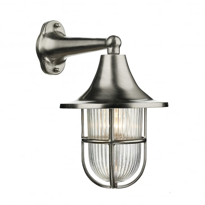 David Hunt Lighting Wadebridge Single Light Outdoor Wall Fitting Made From Solid Brass in Nickel Finish with Glass Diffuser