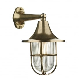 Wadebridge Single Light Outdoor Wall Fitting Made From Solid Brass with Glass Diffuser