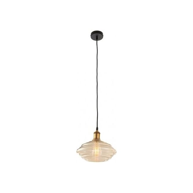 Endon Lighting Walker Single Light Ceiling Pendant With Tinted Cognac Glass Shade