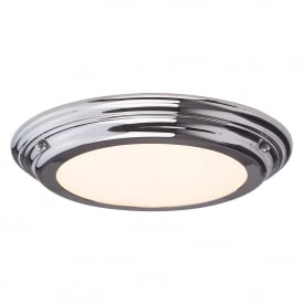 Welland Single LED Medium Flush Bathroom Ceiling Light in Polished Chrome Finish