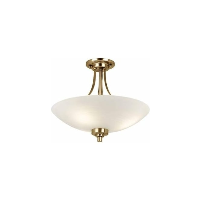 Endon Lighting Welles 3 Light Semi Flush Ceiling Fitting In Antique Brass Fin