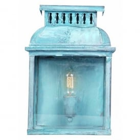 Westminster Abbey Single Light Solid Brass Outdoor Wall Lantern in Verdigris