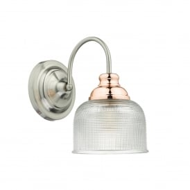 Wharfdale Single Light Wall Fitting In Satin Chrome Finish With Copper Detail