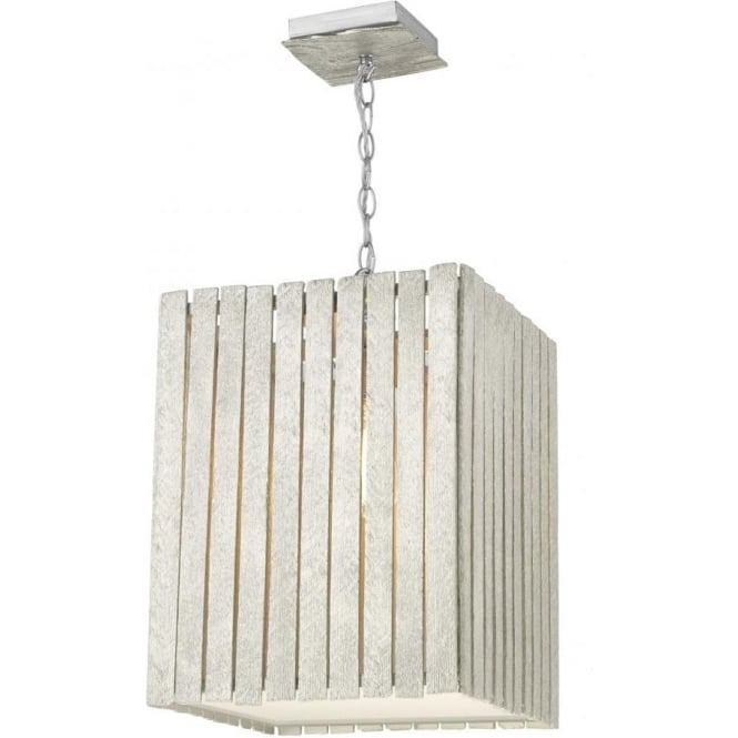 David Hunt Lighting Whistler Single Light Large Ceiling Pendant in Distressed Silver Finish