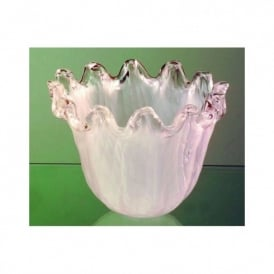 White Frosted Glass Shade With Clear Frilled Trim