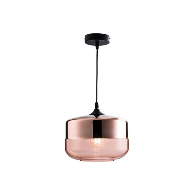 Endon Lighting Willis Single Light Ceiling Pendant In Tinted Cognac And Copper Plated Glass Finish