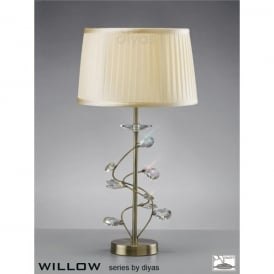 Willow Single Light Antique Brass Table Lamp with Crystal Decoration