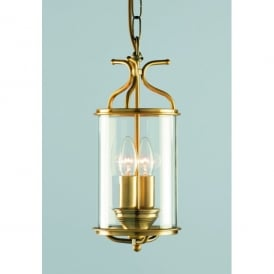 Winchester 2 Light Indoor Ceiling Lantern Pendant In Antique Brass Finish