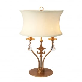 Windsor 2 Light Table Lamp in Rich Gold Patina Finish with Cut Glass Crystal Decoration
