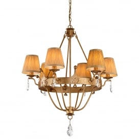 Windsor 6 Light Chandelier in Rich Gold Patina Finish with Cut Glass Crystal