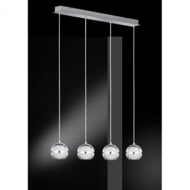 Fulton/Serie 740 LED 4 Light Ceiling Pendant in Polished Chrome Finish with Glass Shades
