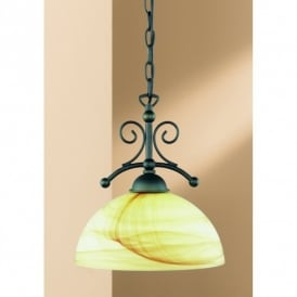 Lacchino Rust Coloured Single Light Pendant With Amber And Cream Alabaster Glass