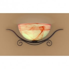 Lacchino Rust Coloured Single Light Wall Fitting With Amber And Cream Alabaster Glass