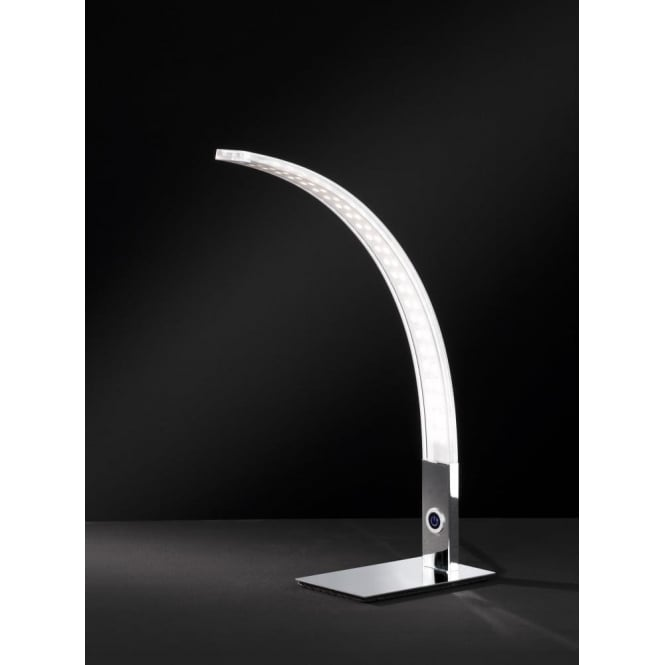 Elegant Luz/Serie 682 Single LED Dimmable Table Lamp In Polished Chrome Finish
