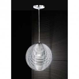 Modena Single Light Globe Ceiling Pendant in Silver Finish