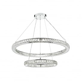 Wonder LED Ceiling Pendant In Polished Chrome And Crystal Finish
