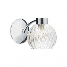 Yasmin Single Light Switched Wall Fitting In Polished Chrome Finish