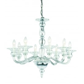 Zagreb 8 Light Ceiling Pendant In Polished Chrome And Clear Crystal Glass Finish