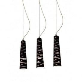 Zebra 3 Light Ceiling Pendant with Black Glass Shades