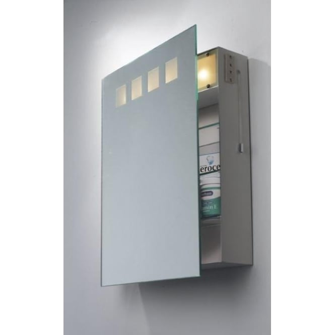 Zeus Illuminated Bathroom Mirror Cabinet With Shaver Socket