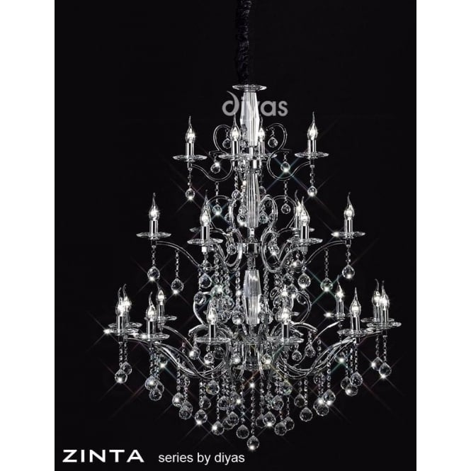 Diyas Zinta Grand 22 Light Crystal and Polished Chrome Chandelier