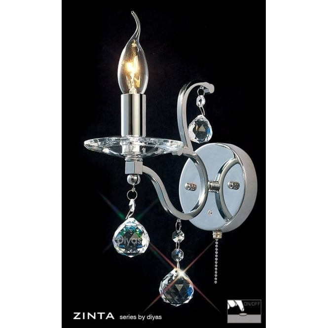 Diyas Zinta Single Light Switched Crystal and Polished Chrome Wall Fixture