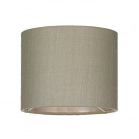 Zuton 8 Inch 100% Silk Drum Shade In Linen Grey With Silver Laminate Lining
